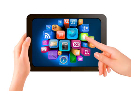 Hand holding touch pad pc and finger touching its screen with icons