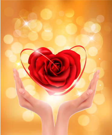 Love concept. holding a red heart in hands Vector