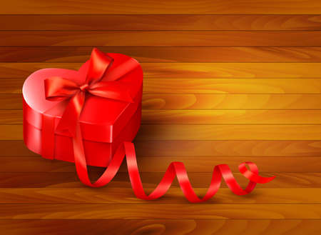 Holiday background with gift red box and red ribbon Vector