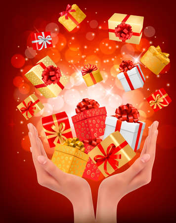 Holiday background with hands holding gift boxes. Concept of giving presents Stock Vector - 17337927