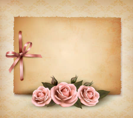 scrap paper: Retro background with beautiful pink rose and old paper Illustration