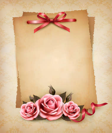 Retro background with beautiful pink rose and old paper Vector