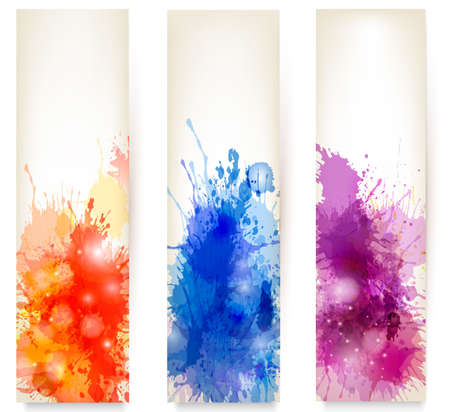 Collection of colorful abstract watercolor banners Stock Vector - 17337931