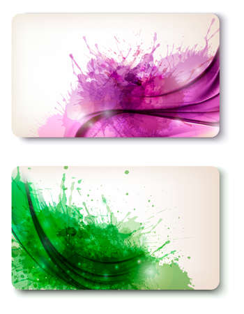Two colorful abstract business cards Stock Vector - 17337929