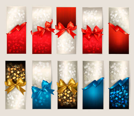 template: Collection of beautiful gift cards with color gift bows with ribbons Vector illustration.