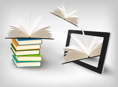 e book: Books flying in a tablet. Vector illustration.