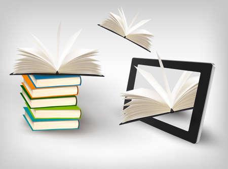 e book reader: Books flying in a tablet. Vector illustration.
