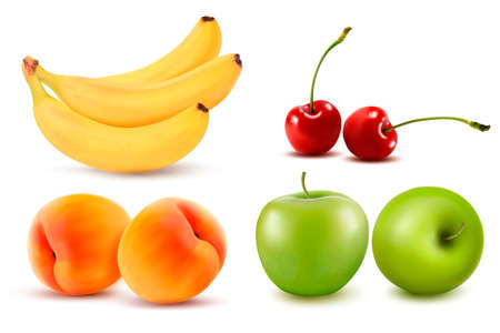 canned fruit: Group of fresh colorful fruit. Vector illustration.