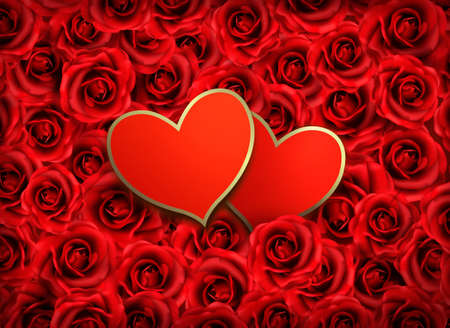 Valentine`s day background. Two hearts on background of  red flowers. Vector illustration. Stock Vector - 17602179