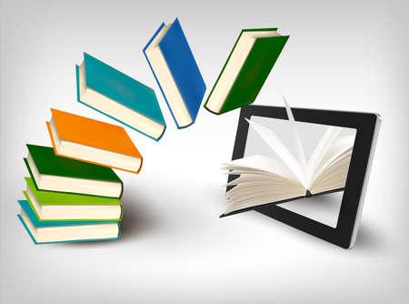 Books flying in a tablet. Vector illustration. Vector