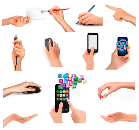 Collection of hands holding different business objects. Vector illustration Vector