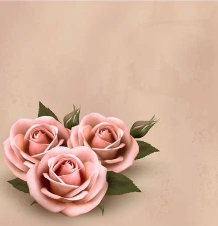 Fondo retro con hermosas rosas de color rosa en capullo. Vector ilustración.