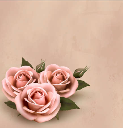 rosa: Retro background with beautiful pink roses with buds. Vector illustration.