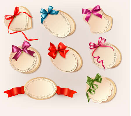 rose frame: Set of beautiful retro labels with colorful gift bows with ribbons. Vector illustration