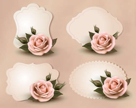 Collection of retro greeting cards with pink rose. Vector illustration. Vector