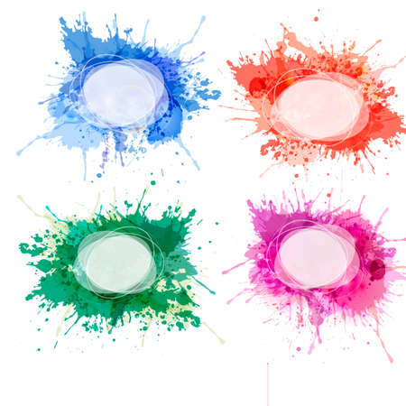 Collection of colorful abstract watercolor backgrounds. Vector. Ilustracja