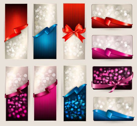 Set of beautiful Gift cards and banners with color gift ribbons Stock Vector - 17920852