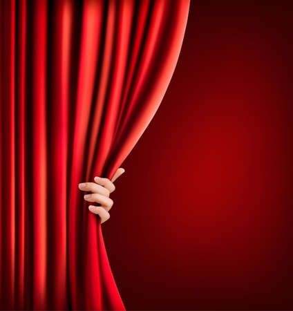 theater curtain: Background with red velvet curtain and hand