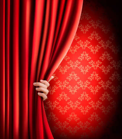 theater auditorium: Background with red velvet curtain and hand