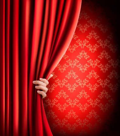 terciopelo rojo: Fondo con la cortina de terciopelo rojo y la mano Vectores