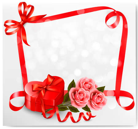 Holiday background with red heart-shaped gift box and flowers. Valentines background Vector