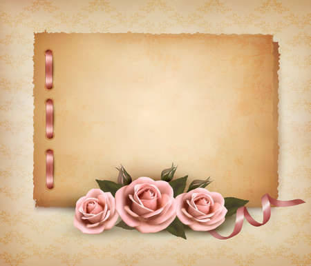 green frame: Retro background with beautiful pink rose and old paper Illustration