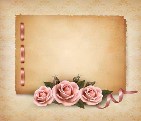 róża: Retro tła z pięknego różowego wzrosła i stary papier