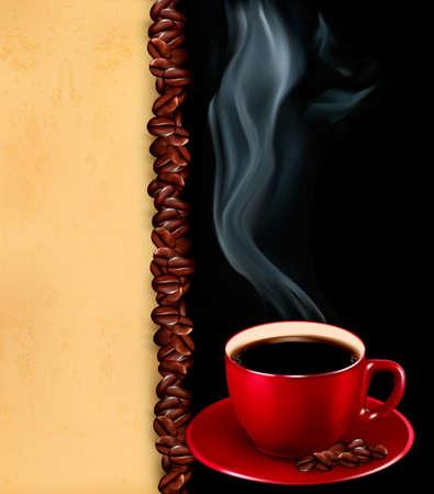 granos de cafe: Fondo con la taza de caf� y papel viejo