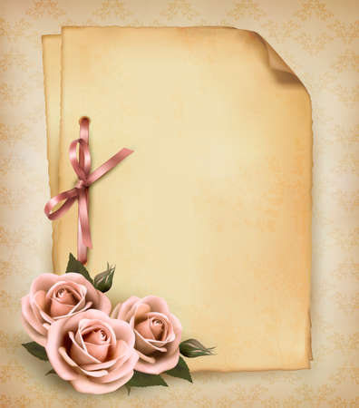 rosa: Retro background with beautiful pink rose and old paper Illustration