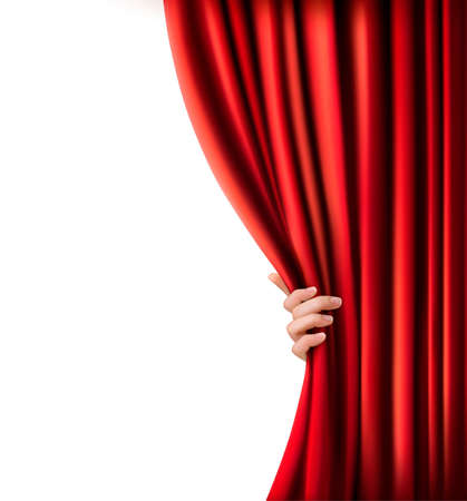 window curtains: Background with red velvet curtain and hand