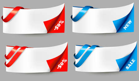 Red and blue sale banners with ribbons Stock Vector - 17920808