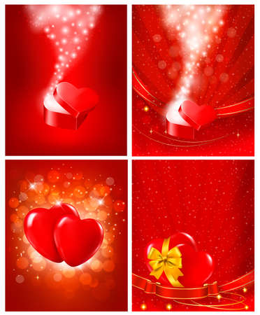 Set of Valentine`s day backgrounds Vector