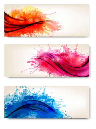 de cor: Coleção de bandeiras coloridas do abstrato da aguarela. Ilustração do vetor.