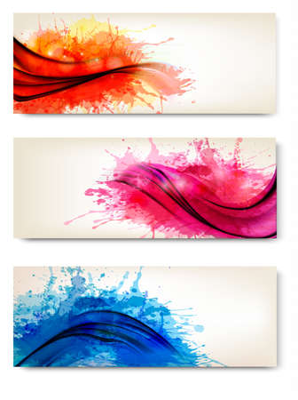 splash color: Raccolta di coloratissimi astratto banner acquerello. Illustrazione di vettore.