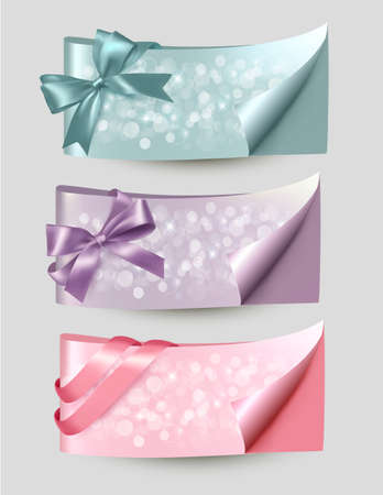 Set of beautiful Gift cards and banners with color gift ribbons Stock Vector - 17920851