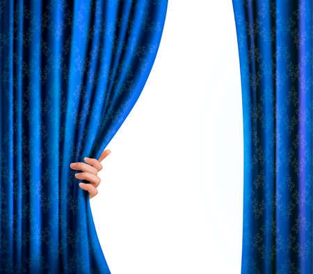 window curtains: Background with blue velvet curtain and hand. Background with blue velvet curtain and hand. Vector Illustration