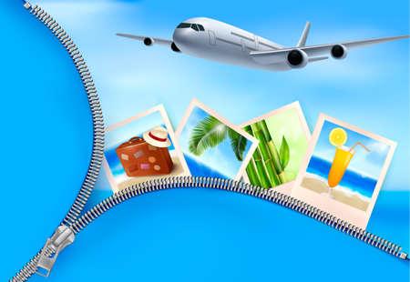 Achtergrond met vliegtuig en met foto's van vakantie. Reis concept. Vector Vector Illustratie