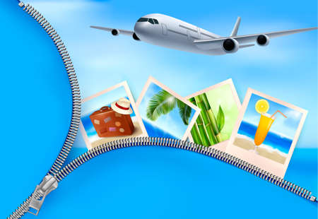 Background with airplane and with photos from holidays. Travel concept. Vector