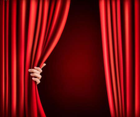 Fondo con la cortina de terciopelo rojo y la mano. Ilustración vectorial