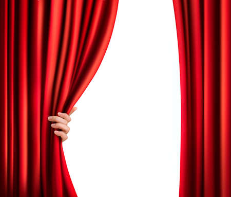 window curtains: Background with red velvet curtain and hand. Vector illustration