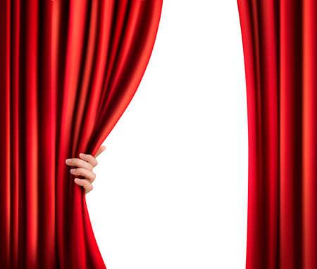 b�hnenvorhang: Hintergrund mit roten Samtvorhang und Hand. Vector illustration