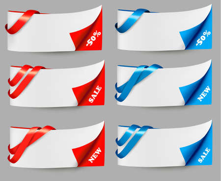 Red and blue sale banners with ribbons. Vector. Stock Vector - 18120933