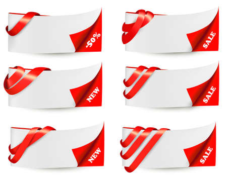 Red sale banners with red ribbons. Vector. Stock Vector - 18120916