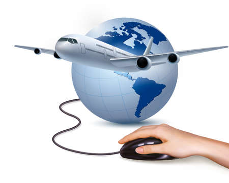 nternet: Background with airplane and hand with mouse. Travel concept. Vector
