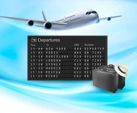 Travel background with mechanical departures board and airline  Vector Vector