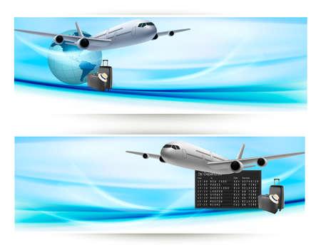 여행: 푸른 하늘 여행 개념 벡터에서 비행기와 함께 두 개의 여행 배너