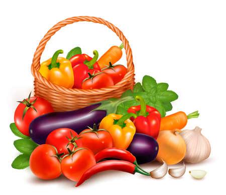 canastas con frutas: Fondo con las verduras frescas en la ilustración canasta saludable