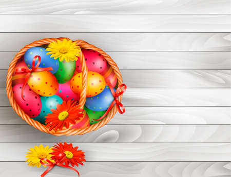 Easter background with color easter eggs in basket on wooden table  Vector