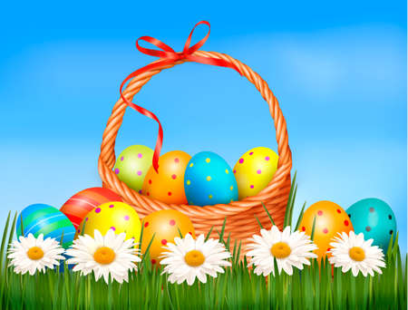 gift basket: Easter background  Easter eggs and flower with basket in the grass    Illustration