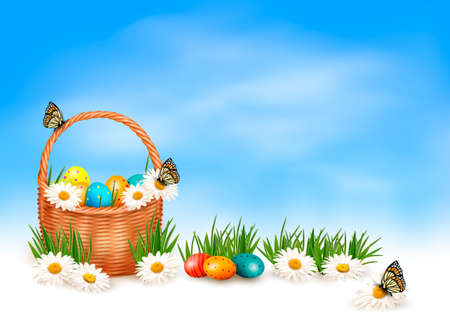 Easter background with Easter eggs in basket and butterfly on flowers   Vectores